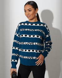Turquoise Love Stripe Sweater