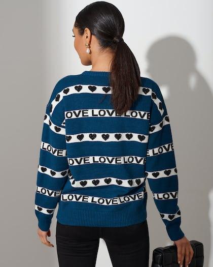 Turquoise Love Stripe Sweater