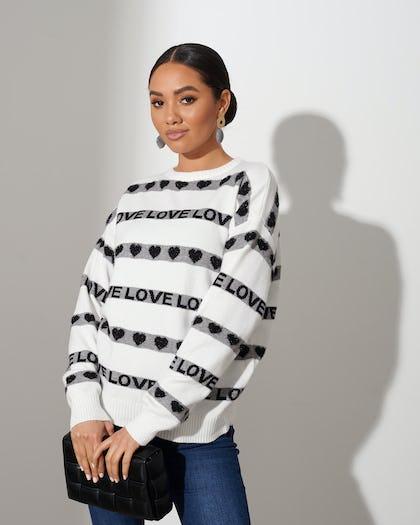 White Love Stripe Sweater