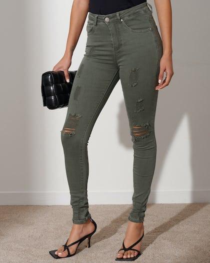Khaki Distressed Skinny Jeans