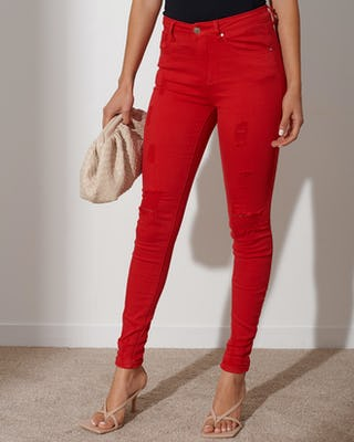 Red Distressed Skinny Jeans