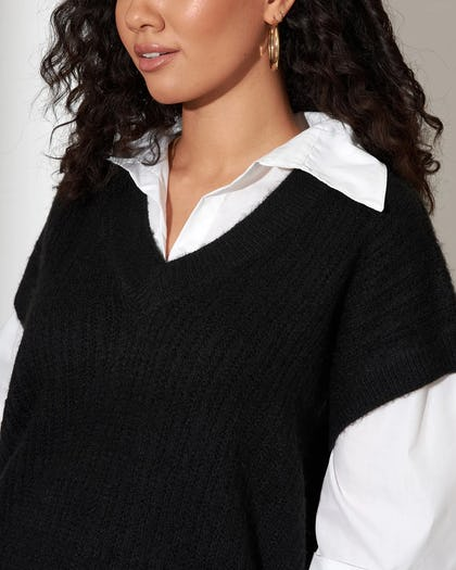 Black 2 In 1 Thick Knit Vest Shirt