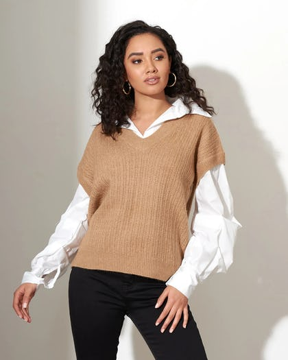 Camel 2 In 1 Thick Knit Vest Shirt