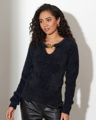 Black Chain Teddy Fleece Jumper