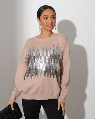 Beige Statement Sequin Jumper