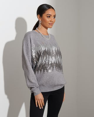Grey Statement Sequin Jumper