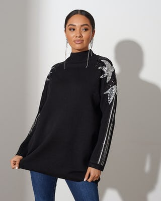 Black Jewelled Sleeve Jumper