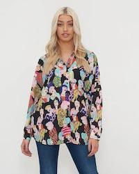 Black Multi Coloured Face Print Shirt