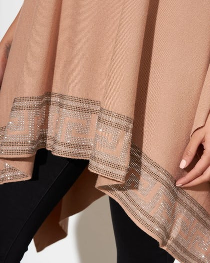 Nude Sequin Hemmed Open Poncho