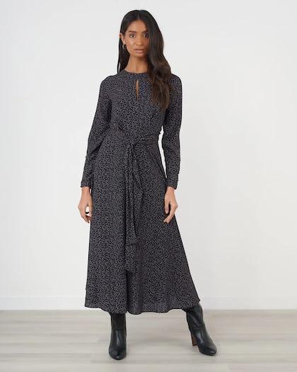 Polka Dot Tie Waist Midi Dress