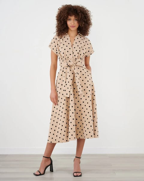 Beige and Black Polka Dot Tie Front Midi Dress