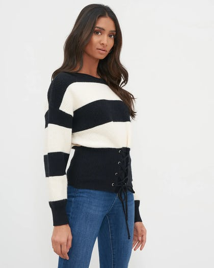 Black & White Stripe Oversized Jumper with Corset Detaill