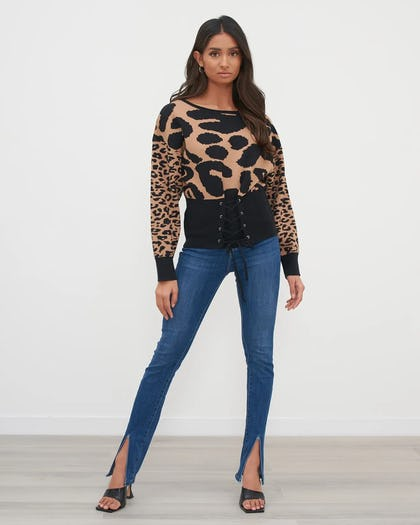 Brown Animal Print Oversized Jumper