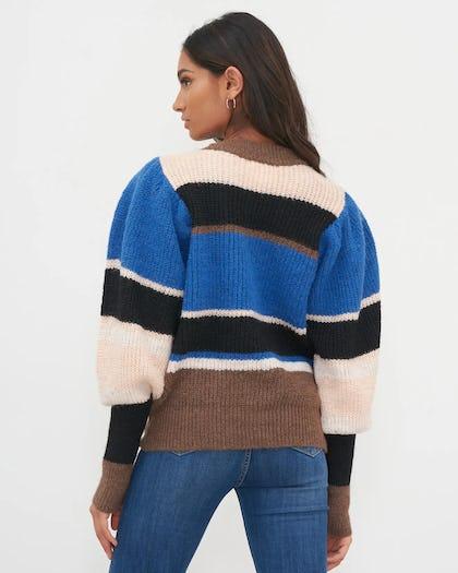 Blue Colour Block Puff Sleeve Knit Jumper