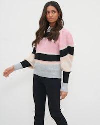 Pink Colour Block Puff Sleeve Knit Jumper