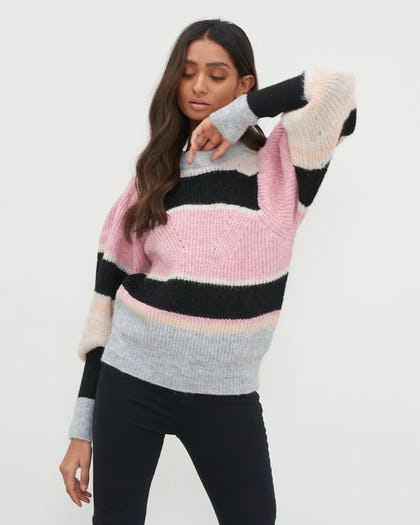 Pink Colour Block Puff Sleeve Knit Jumper