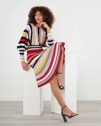 Pink Stripe Batwing Sleeve Knitteed Dress with Peplum Hem