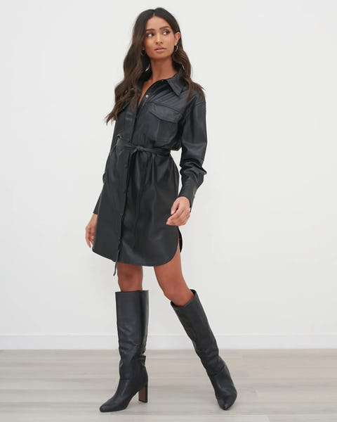 Black Utility Faux Leather Shirt Dress