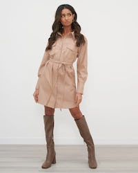 Beige Utility Faux Leather Shirt Dress