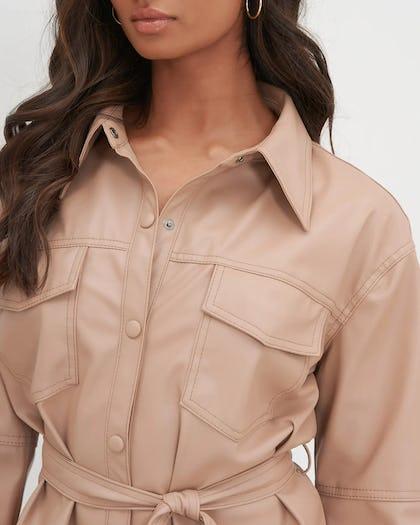 Beige Utility Faux Leather Shirt Dress