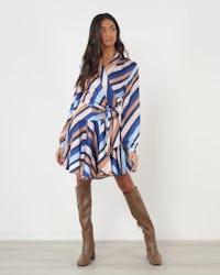 Multi Stripe Asymmetric Wrap Dress