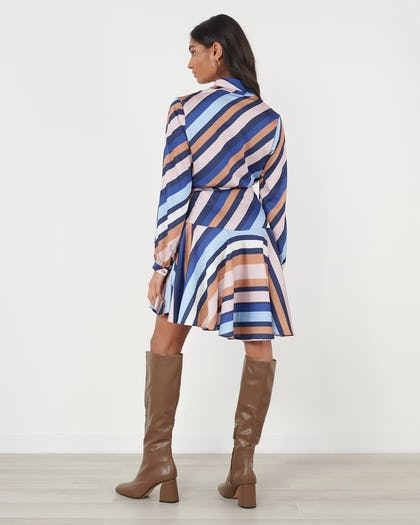 Multi Stripe Asymmetric Wrap Dress