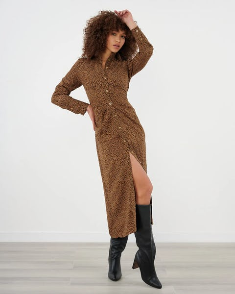 Brown Animal Print Ruched Shirt Dress