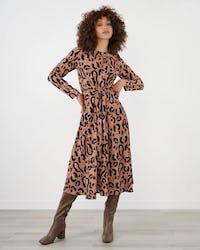 Brown Animal Print Tie Waist Midi Dress