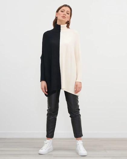 Black and White Oversized Colour Block Poncho