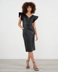 Black Faux Leather Midi Dress