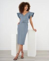 Steel Blue Faux Leather Midi Dress