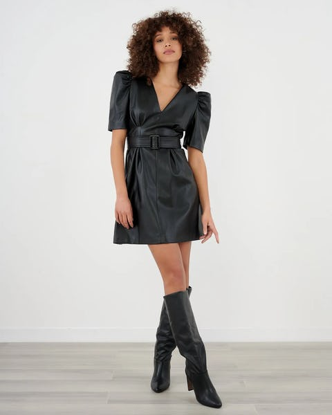 Black Faux Leather Belted Puff Sleeve Mini Dress