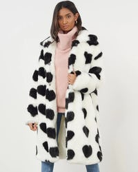 Cream Heart Print Faux Fur Coat
