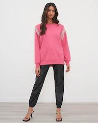 Fuschia Diamante Trim Oversized Sweater