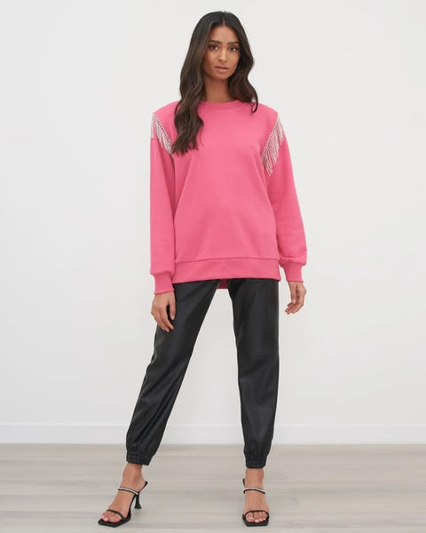 Fuschia Diamante Trim Oversized Sweater