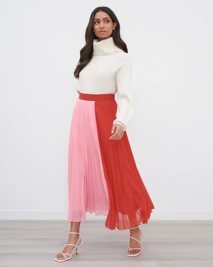 Red & Pink Pleated Colour Block Midi Skirt