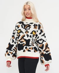 Tiger Print Roll Neck Oversized Knitted Jumper