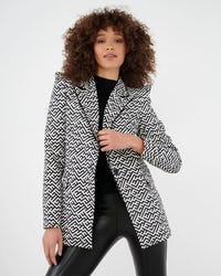 Black and White Printed Blazer with Exaggerated Shoulder