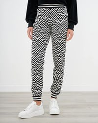 Black and White Jacquard Knitted Joggers