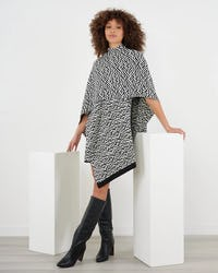 Black and White Jacquard Knitted Cape