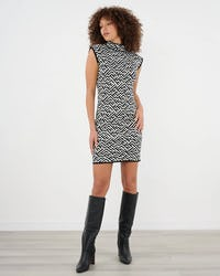Black and White Jacquard Knitted Dress with Zip Detail