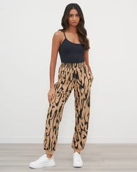 Tan And Black Textured Animal Print Jogger