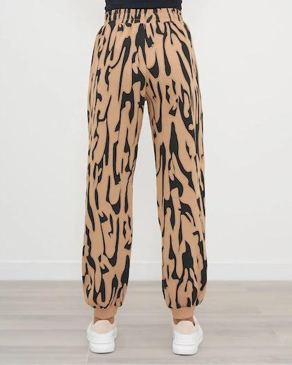 Tan And Black Textured Animal Print Jogger