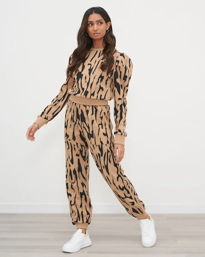 Tan And Black Textured Animal Print Jumper With Puff Sleeve