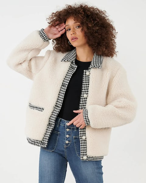 Cream Teddy Coat with Houndstooth Trim