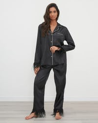 Black Satin Contrast Piping Pyjama Set with Feather Trim