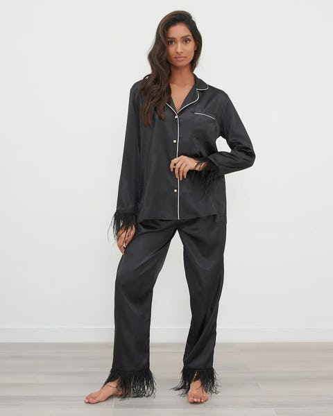 Black Satin Contrast Piping Pyjama Set with Feather Trim