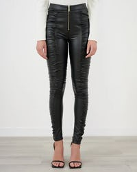 Black Faux Leather Zip Front Ruched Leggings