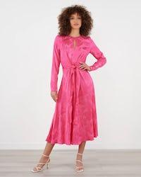 Pink Jacquard Tie Waist Midi Dress