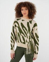 Khaki and White Zebra Knitted Jumper with Fringe Detail